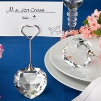 Presentes de festa de casamento Party Favors Heart Crystal Card Holders Party Supplier 10pcs / lot Frete grátis