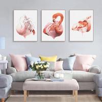 ingrosso arte del muro di trittico moderno-Modern Triptych Watercolor Animal Flamingo Poster Nordic Living Room Wall Art Stampa Immagine Home Decor Canvas Painting No Frame