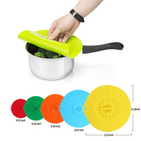 Wholesale Bowl Cup Set - Practical 5pcs Set Silicone Food Lids Family Food Saver Covers Silicone Fresh Cover Suction Lids For Bowls Cups Containers