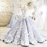 Wholesale Short Peplum Bridal Dresses - So Beautiful Puffy Ball Gown 3-d flowers Wedding Dresses sheer Neck Peplum Luxury Bridal Gowns No Sleeve Vestidos De Novia