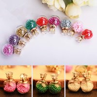 Wholesale Glass Earings - 2016 Transparent Glass Ball Earrings Double Faced with Small Beads Inside 8MM Zircon Crystal Crown Stud Earings For Women Girls C387