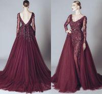 Wholesale Cheap Elegant Elie Saab Dress - Elegant Backless Burgundy Lace Formal Dresses Evening V-neck Long Sleeves 2017 elie saab Middle East Arabic Prom Party Gowns Cheap