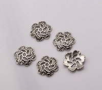 Wholesale Silver Filigree Bead Caps - Hot ! 300pcs Antique silver Zinc Alloy Filigree Flower End Bead Caps 13x13x2.5mm DIY Jewelry