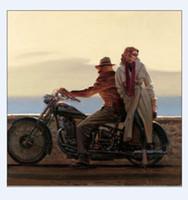nackter kunstmann großhandel-Ein Mann und ein Mädchen auf dem Motorrad, echtes handgemaltes Porträt-Kunst-Ölgemälde auf hochwertiger Leinwand, in kundengebundener Größe angenommen
