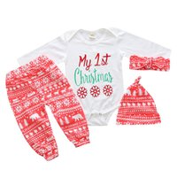 Wholesale Kit Girl Autumn - Christmas Outfit For Baby Boy Girl Set Clothes New Year Gift My First Birthday 4PC Suit Kid Infant Headband+Hat+Print Bodysuit+Pant Kit
