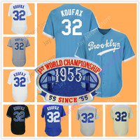 Wholesale first cream - Sandy Koufax Jersey With 1955 1st First Champions Patch Cream White Cooperstown Grey Brooklyn Jerseys With 1955 Patch
