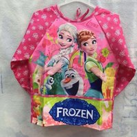 Wholesale Frozen Elsa Anna Aprons Kids Water Proof Apron Children Cartoon Cooking Smock in stock