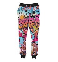 Wholesale Graffiti Harem Pants - REAL USA SIZE graffiti 3D Sublimation Print String Jogger   Harem Pants -plus size