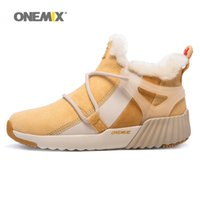 Wholesale Warm Waterproof Winter Sneakers - ONEMIX Winter Warm Shoes For Women Wool Snow Boots High Top Pigskin Waterproof Running Shoes 2017 Woman Beige Sport Outdoor Walking Sneakers