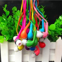 Wholesale Colored Noodles - Earphones 3.5mm Colored Flat Noodle Headphones for Samsung Noise Cancelling In-Ear Headset Mp3 Mp4 Player with Mic Remote Good TPE
