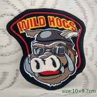 Wholesale iron rider - WILD HOGS Jacket Applique Pig Motorcycle Biker Rider Iron on Embroidered patch Gift shirt bag trousers coat Vest Individuality