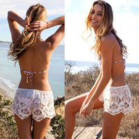 Wholesale White European Women Pants - New Sexy White Black Lace Shorts Women Summer Beach Shorts Hollow Out Floral Lace Mini Pants Clubwear Hot Shorts
