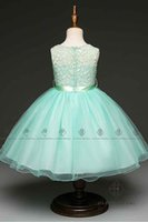 HarveyBridal Pretty Mint Green Lace Flower Girl Dresses Tea Length Tulle Baby Girl's Party Платья с Sash Real Picture Chico vestido formal