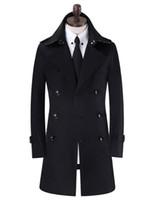 abrigo ajustado negro al por mayor-Caqui negro beige negro doble botonadura para hombre gabardinas hombre abrigo largo hombres ropa slim fit algodón abrigo hombres plus