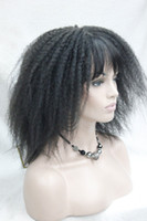 Wholesale Kinky Wig Pictures - 100% Brand New High Quality Fashion Picture full lace wigs>>Afro Kinky Curly Medium Length Off Black 2# Wig with Bangs Senegal Havana style