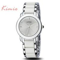 Wholesale Ladies Black Colour Watches - JW770 Kimio Brand New Ladies Women Luxury Bracelet Dress Watches with Ceramic Fine Steel Strap Drop Free shipping 2 Colours