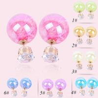 Wholesale Asian Coats - Fashion earrings jewelry, coated corrugated candy color fashion earrings, hot pearl earrings earrings wholesale free shipping