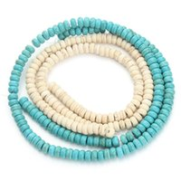 Wholesale 4mm Turquoise Round Beads Wholesale - 25g pack 6*4mm Fashion Loose Natural Stone Green Ivory Turquoise Beads For Jewelry Making DIY Bracelets