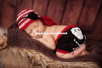 Wholesale Diapers Skulls - Unisex Cute Pirate Hat Eye Mask Diaper Skull Set Newborn Baby Photography Prop Handmade Crochet Knitted Costume animal backpack