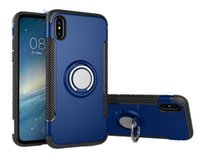 Wholesale Magnet Phone Cases - For Apple iPhone X 8 7 plus 6S hybrid gravity TPU+PC for Samsung S8 S8+ S7 edge magnet Ring protector Cell Phone Cases