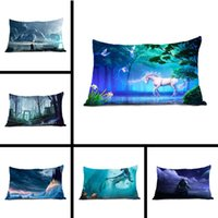 Al por mayor-Funda de almohada Top Sale Niza juego de cama Caroon Anime Unicornio Dos Side Pillow Cover Rectángulo Throw funda de almohada con cremallera