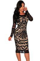 Wholesale Office Wear Xxl - office lady Vintage Dress XXL Long Lace knee length club wear Casual Pencil dress 803 Celebrity Bodycon Bandage Dress XL XXL 60469