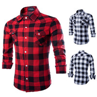 Herbst Mens Fashion Causal Plaids Checks Shirts Langarm Turn Down Kragen Slim Passt Mode Shirts Tops Schwarz Rot Weiß XXL