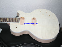 Custom Shop Mahagoni Korpus ein stück mahagoni neck Unfinished E-gitarre Kit Mit Flamed Maple Top mit hardware