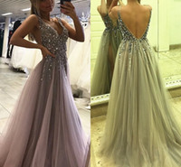 ddfc701f583f New Sparkly Split Prom Dresses 2017 Deep V Neck Crystal Beads Backless High  Slit Grey Evening Party Girls Pageant Gowns Custom Made Cheap