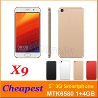 Wholesale Dhl Cheap Cell Phone Android - Cheap 5 inch 3G Smart Cell phone Android 6.0 MTK6572 Dual Core Mobile Phone Dual SIM Camera WCDMA unlocked Smart Wake Smartphone by DHL X9