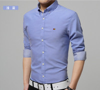 Wholesale Shirt Men Brand Elegant - 2016 Brand Mens Shirts Elegant Comfort Long-sleeve Men Shirt Cotton Solid Slim Business Casual Shirt Men 7 Colors M-4XL
