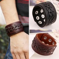 Wholesale Wide Bracelet Bands - 3Pcs Lot WHolesale Rock Punk Wide Leather Mens Wrist band Strap Bracelet Handmade Brown Black Color Fashion Jewelry