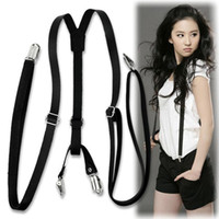 Wholesale Cheap Faux Pants - Wholesale-Cheap+Free shipping Faux Leather Y Back Pants Braces Suspenders for women men suspensorio Black fashion accessories 2016 EQ5139