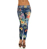 Wholesale Dots Leggings Ladies - Butterfly and Sexy Lady Print Leggings Jeans Cheap Ripped Denim Spandex Graffiti Fitness Legging for Women Pants Sexy Leggings Free Shipping