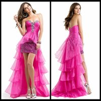 Wholesale Strapless Ruching - Elegant A Line Strapless Crystal Detailing Ruching Front Short Back Long Fuchsia Prom Dresses Bling Bling Beaded Sequins Party Gowns Prom