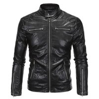 Men black fur collar biker jacket - New Motorcycle Faux Leather Jacket Men Fashion Black Moto Biker Windbreaker Jacket Brand Veste Homme Jaqueta De Couro