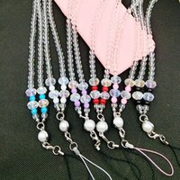 Crystal Pearl Neck Necklace Strap Lanyard U Disk ID Cartão de trabalho Mobile Cell Phone Chain Straps Keychain telefone Hang Rope