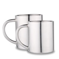 Wholesale Popular Coffee Mugs - With Handle Coffee Mug Double Layers Stainless Steel Children Tea Cup Simple Wear Resistant Round Tumbler Popular 10 29fn B