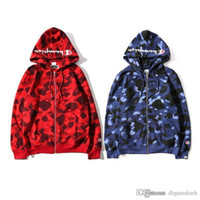 Wholesale Camo Sweaters - Hot Men's Camo Hooded Sweater Couples Camouflage Spotted Hooded Jackets Hit Color Sweatshirt Jacket Street Fashion Jacket Tops