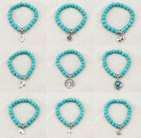 Wholesale Silver Bracelet Hand Pendant - Vintage Charms Turquoise Beads Owl Elephant Bird Pendant Bracelet Fashion Hand Cross Bracelets Women Fine Jewelry Pulseras F007