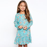 Wholesale Lolita Mint Dress - 2017 Big Girl Dresses Kids Clothess Flowers Printed High Quality Girl Dress Long Sleeve Floral Party Dress Big Child Dress Navy Mint A7433