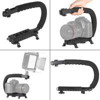 Wholesale C Shape Stabilizer - C Shape Flash Bracket Holder Video Handle Handheld Stabilizer Grip for DSLR SLR Camera Phone for Sports Camera AEE Mini DV Camcorder