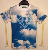 Wholesale Clouds Shirt - tshirt New arrival Fashion Funny 3D t-shirt men women's 3D Tshirt printed white clouds blue sky diamond T-shirt tops MDT107