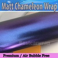 Wholesale violet vinyl - Metallic Matte chameleon Purplish & blue Vinyl wrap film With Air Bubble Free Violet Car wrapping flip flop foil 1.52x20m Roll4.98x66ft