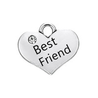 Wholesale 18k Gold Best Friends Pendant - New Arrival DIY Fashion Jewelry Silver Plated Crystal Heart Shaped Best Friend Fit for Floating Bracelets Charms Pendant