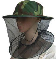 ingrosso vola per la pesca-Mimetico Apicoltura Apicoltore Anti-zanzara Ape Bug Insetto Fly Mask Cap Hat con testa Net mesh Protezione del viso Attrezzature per la pesca all'aperto