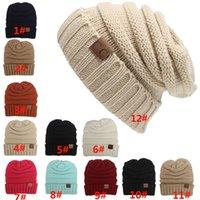 Wholesale Street Tiles - Women Knitting Warm Beanie Hats Fashion Skull Caps Winter Button Crochet CC Trendy Chunky Soft Beanie Hat 12 Color Tile Level 21*21cm PX-H02