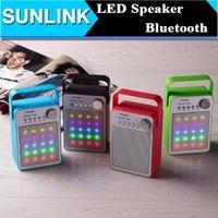 Wholesale Speaker Amplifer - LED Light Flash Mini Bluetooth Speaker Wireless Portable Amplifer Audio Music Player Subwoofer with FM USB TF Card Slot Handsfree MIC Handle