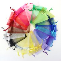 sacos de cordão roxos venda por atacado-Sacos de Jóias por atacado MISTURA Organza Jóias Festa de Casamento Xmas Sacos de Presente Roxo Azul Rosa Amarelo Preto Com Cordão 7 * 9 cm