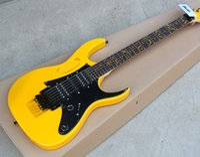 Wholesale Electric Guitar Yellow Inlay - Customzied Yellow Electric Guitar with Basswood Body,Maple Neck,Rosewood Fingerboard,Floyd Rose,Tree of life Inlay,Black Harware